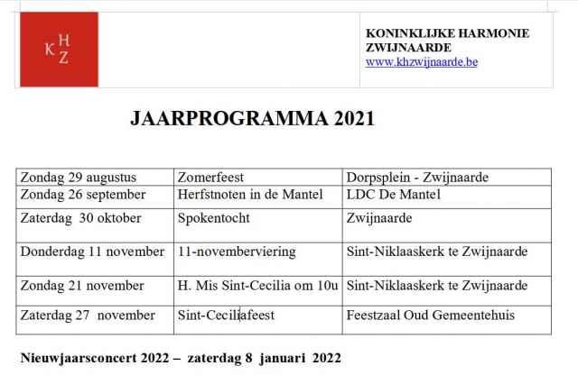 Voorlopig Jaarprogramma 2021